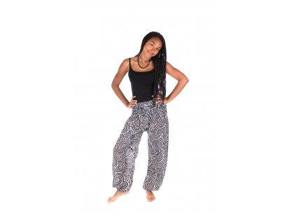Indické kalhoty s kapsami Spirály černobílé