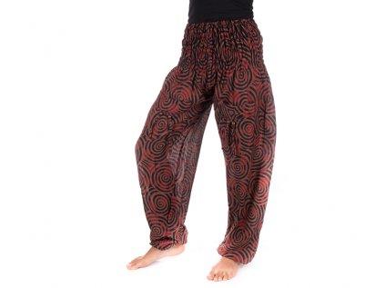 Indické kalhoty s kapsami Spirály hnědočervené