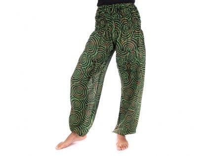 Indické kalhoty s kapsami Spirály zelené