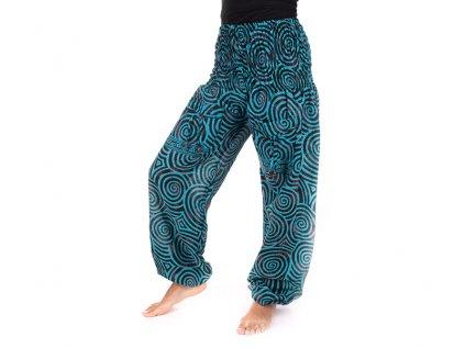Indické kalhoty s kapsami Spirály zářivě modré