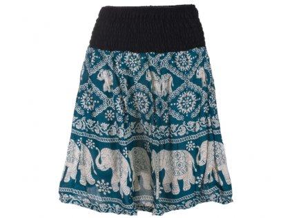 krátká sukně se slony petrolejově modrá