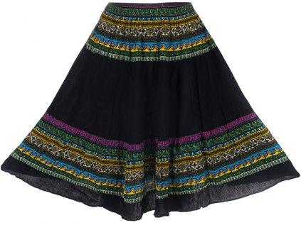 černá etno sukně multicolour