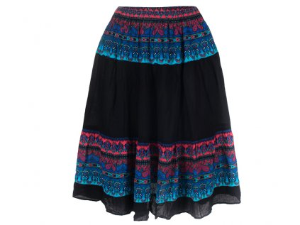 černá etno sukně modrorůžový design detail
