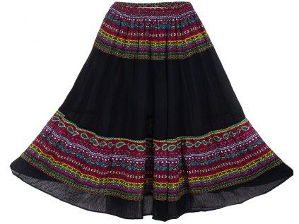 černá etno sukně fuchsiový design