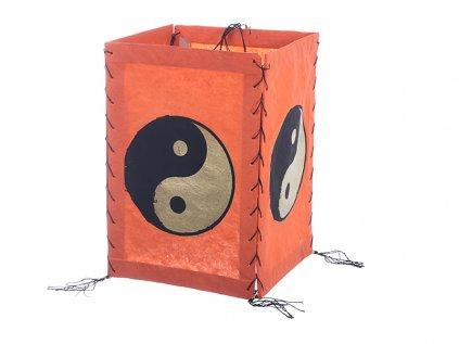 Lampion z ručního lokta papíru Jin a Jang oranžový