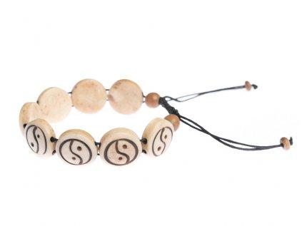 Stahovací náramek z buvolí kosti Jin a jang světlý