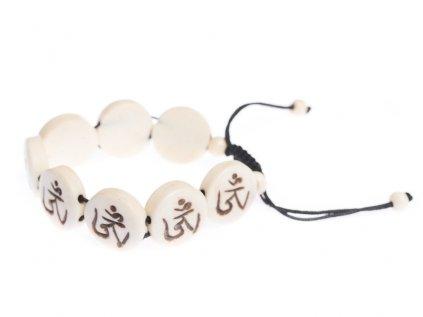 Stahovací náramek z buvolí kosti Óm bílý