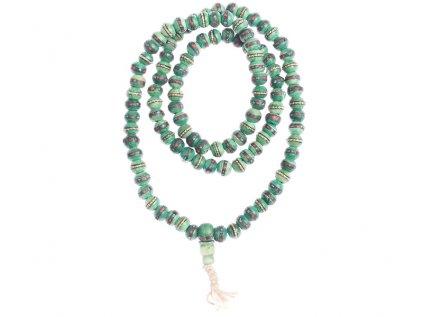 Originální kostěná japa mala zelená