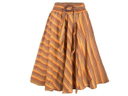 Dlouhá bavlněná sukně se sponou pruhovaná žlutá