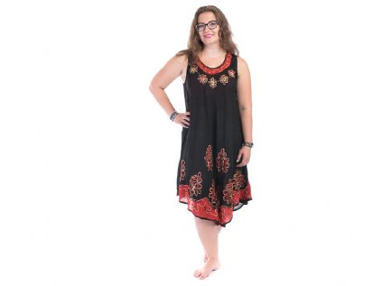Černočervené  batikované šaty