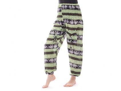 indické kalhoty sloni černozelené=