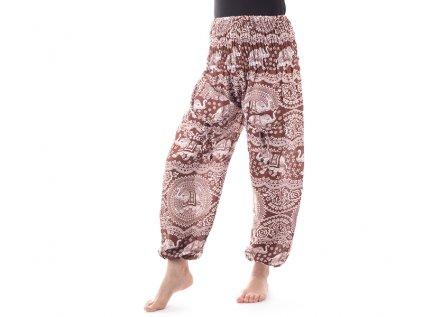 Indické kalhoty sloni štěstí hnědé