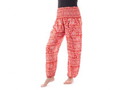 Indické kalhoty sloni štěstí oranžové