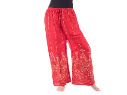 orientální kalhoty se zlatým tiskem červené