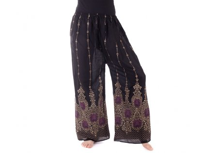 orientální kalhoty se zlatým tiskem černé3