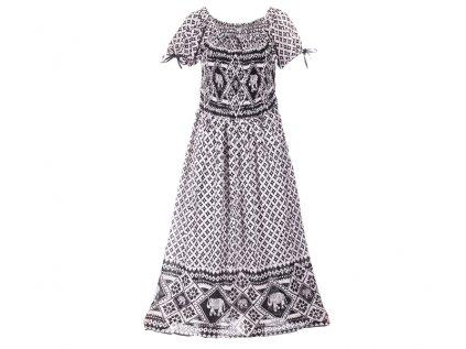 dlouhé krepové boho šaty černobílé