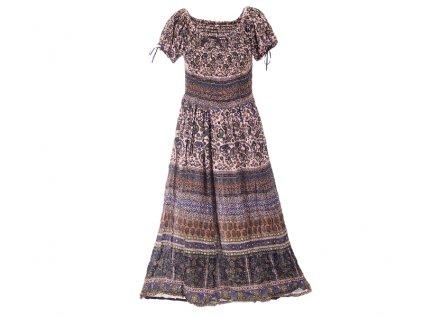 dlouhé krepové boho šaty domodra