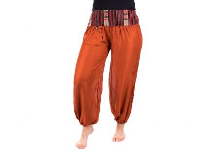 Pohodlné etno kalhoty se tkaným pasem cihlově oranžové