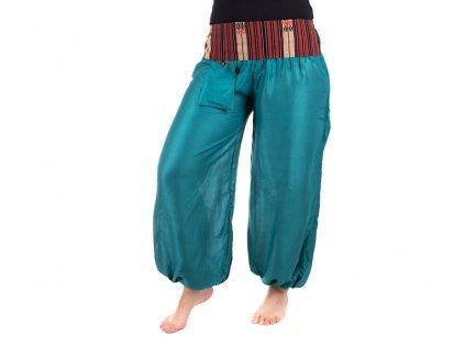 Pohodlné etno kalhoty se tkaným pasem petrolejově modré