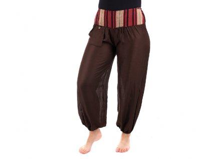 Pohodlné etno kalhoty se tkaným pasem čokoládově hnědé