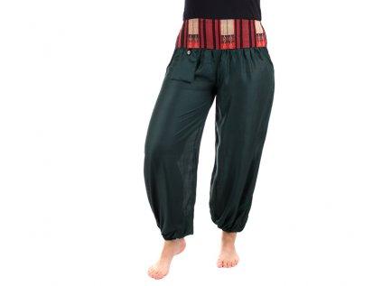 Pohodlné etno kalhoty se tkaným pasem tmavozelené