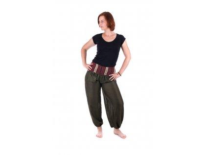 Pohodlné etno kalhoty se tkaným pasem khaki zelené