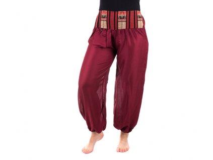 Pohodlné etno kalhoty se tkaným pasem vášnivě vínové
