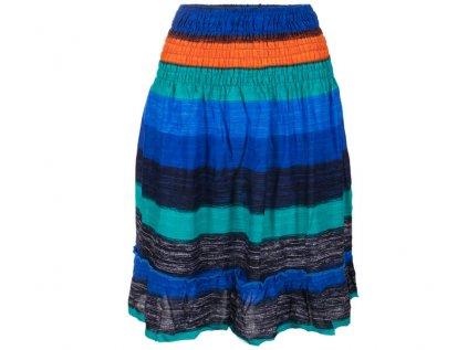 krátká letní sukně s pruhy domodra