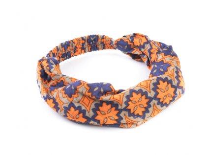 Šátek do vlasů Hippie oranžovomodrá