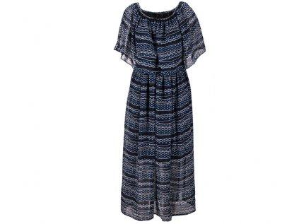Dlouhé šifonové šaty modročerné
