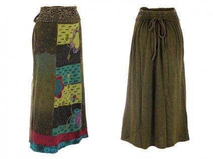 Dlouhá bavlněná etno sukně zelená