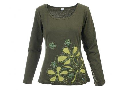 Originální zelená halenka s květy