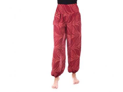 Pohodlné kalhoty z viskózy červené