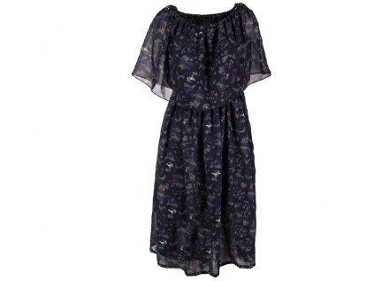 Krátké šifonové šaty černé s květy