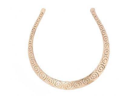 Kovový etno náhrdelník spirálky ve zlaté