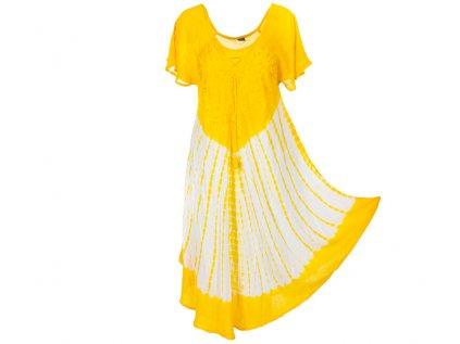 Batikované šaty s rukávky a šněrováním žluté