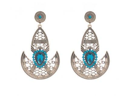Indické náušnice Bollywood s modrými kameny