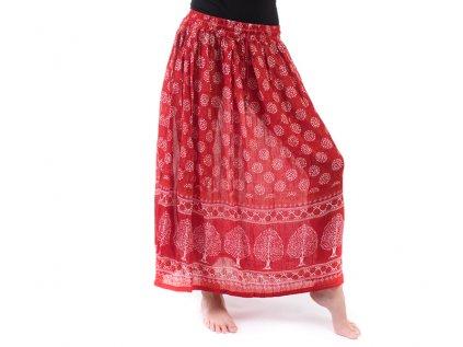 Dlouhá indická sukně červená se stromy