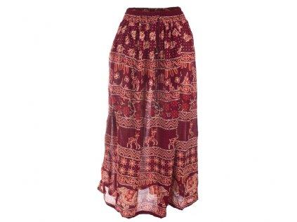 Dlouhá sukně z Indie vínová