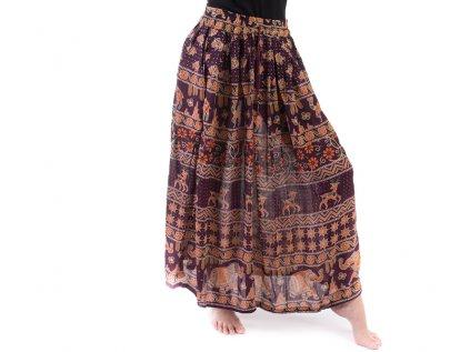 Dlouhá sukně z Indie mahagonová s jeleny