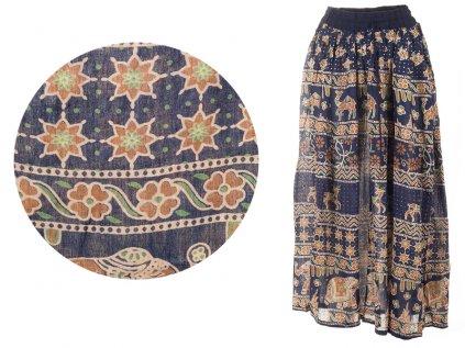 Dlouhá sukně z Indie tmavomodrá