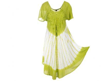 Batikované šaty s rukávky a šněrováním světle zelené