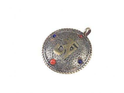 Ochranný tibetský oboustranný amulet Óm