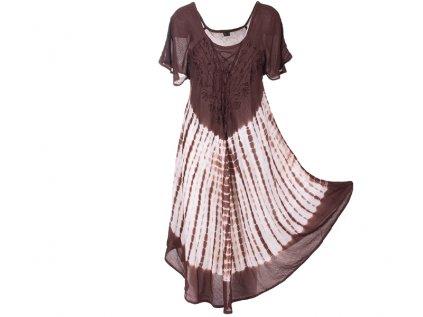 Batikované šaty s rukávky a šněrováním hnědé