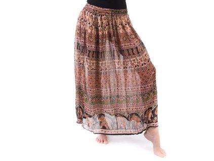 Lehounká indická sukně okrovozelená