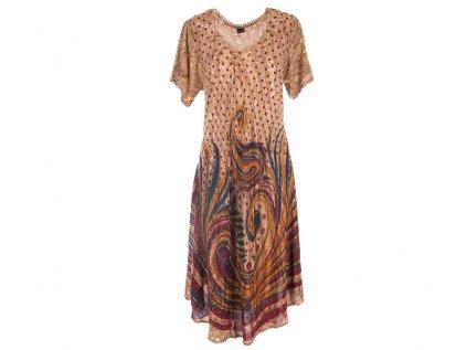 batikované šaty hnědé