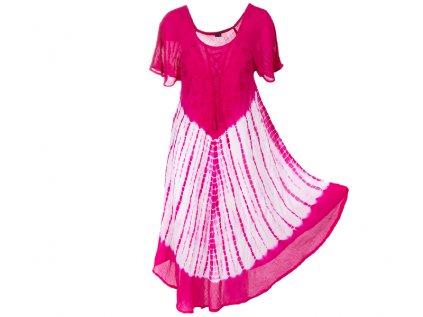 Batikované šaty s rukávky a šněrováním fuchsiové