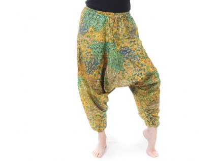 Harémové kalhoty s indickým vzorem žluté
