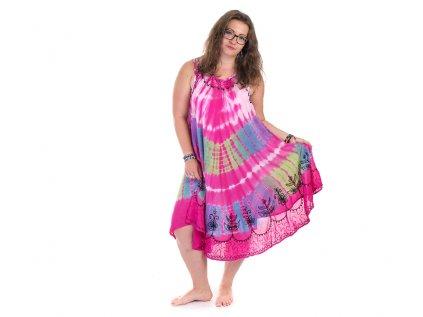 Fuchsiové batikované šaty