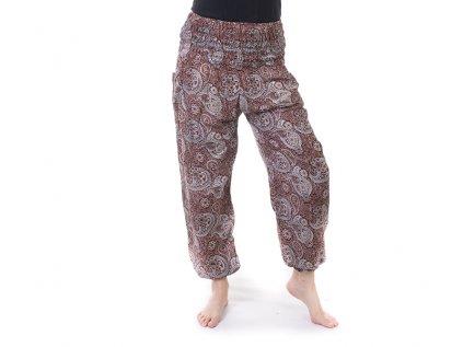 Pohodlné kalhoty z viskózy hnědé